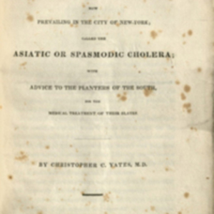 Title page of Observations on the epidemic now prevailing in the city of New-York by Christopher C. Yates.