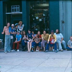 Community folks hanging out in front of Record Rap