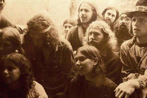 Members listening to Spirit in Flesh rehearse at Warwick Studio. Note looks of ecstasy on individual faces