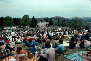 'Mayday' concert at 2001 Center. Sponsored by WAAF radio, 3000 people were planned for, 14,000 arrived. Community provided all security, medical, sound personnel, parking, food concessions and cleanup