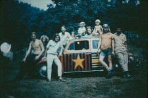 Commune Members with VW. Eddie Evans, unidentified, Doug Edson, Tom Howes, Leah Artus on car, Dale Sluter, unidentified on car, Michael Metelica, Dan Pritchett