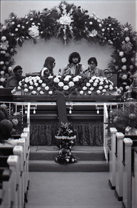 Duane Allman's funeral: Allman Brothers Band performing, from left, Jaimoe, Barry Oakley, Delaney Bramlett, Dickey Betts, and Butch Trucks, with Allman's casket in the foreground