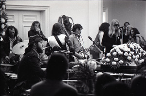 Duane Allman's funeral: from left, Dr. John, Butch Trucks (bass), Barry Oakley, Thom Doucette, Dickey Betts, Delaney Bramlett, and Gregg Allman, while mourners look on