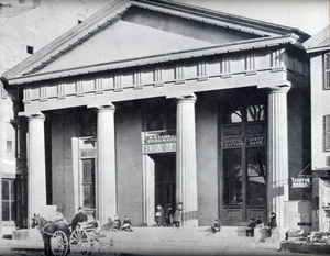Bristol County Savings Bank, showing Taunton Public Library on second floor, around 1875