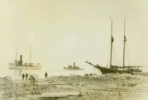 Schooner and Warship on the Back Shore