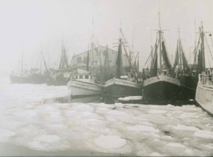 Town Pier with Ships and Ice