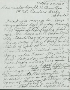 Copy of Letter to Commander MacMillan from Rev. Davis, Oct. 25, 1927