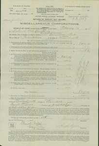National Weir Co. IRS 1911 & 1914 Return of Annual Net Income