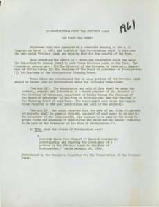 Informational Sheet from the Emergency Committee for the Preservation of the Provincelands