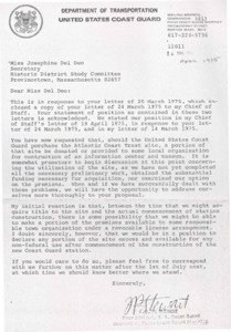 Letter to Josephine Del Deo from U.S. Coast Guard 04/14/1975
