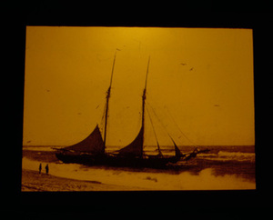 A Two top Mast Schooner in the Surf