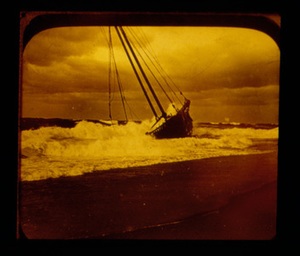 A Two Masted Schooner in the Surf