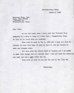 National Trap, Inc. Letter to Capt. John Fields