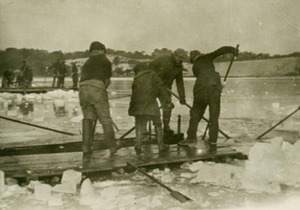 Cuttting Ice on Shank Painter Pond