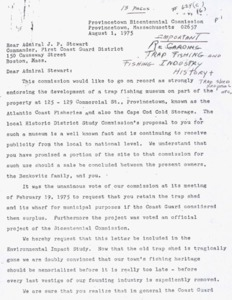 Letter from Provincetown Bicentennial Commission to Rear Admiral Stewart