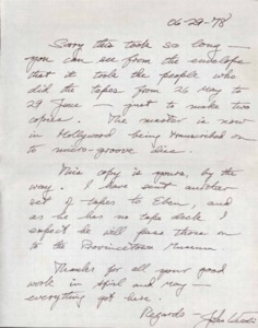 letter to Thelma Given