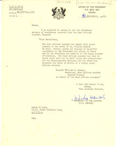 Letter from East African Academy to Shirley Graham Du Bois