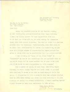 Letter from William A. Perry to W. E. B. Du Bois