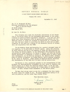 Letter from Soviet Russia Today to W. E. B. Du Bois