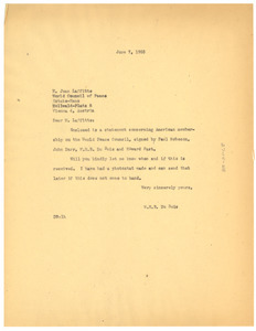 Letter from W. E. B. Du Bois to World Peace Council