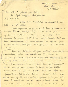 Letter from Olakunbe Oderonbi Roberts to W. E. B. Du Bois