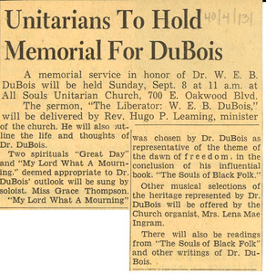 Unitarians to hold memorial for DuBois