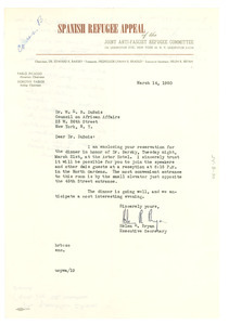 Letter from Joint Anti-Fascist Refugee Committee to W. E. B. Du Bois
