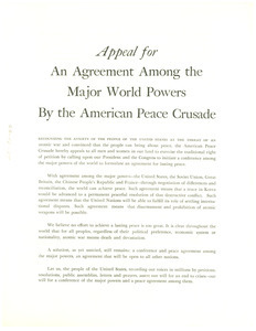 Appeal for an agreement among the major world powers by the American Peace Crusade