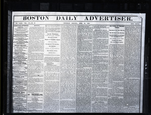 Lincoln headlines: Boston Daily Advertiser, April 20, 1865