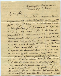 Letter from Joseph L. Tillinghast to Thomas Howland