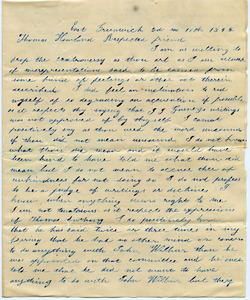 Letter from George C. Kenyon to Thomas Howland