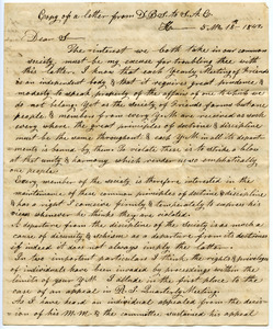 Copy letter from D. B. Smith to S. A. Chase
