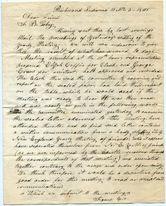 Letter from Perez Peck to Samuel Boyd Tobey