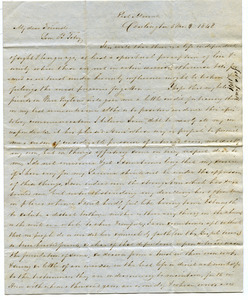 Letter from John Pease to Samuel Boyd Tobey