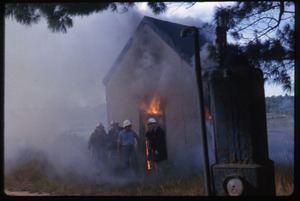 Burning the first shanty, Duxbury Cranberry Company