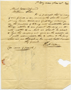 Letter from Thomas Wilbur to William Slade