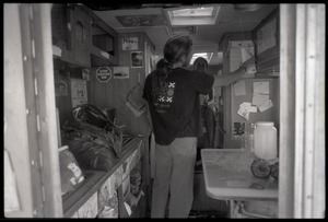 Activists inside one of the campers at the Nevada Test Site peace encampment
