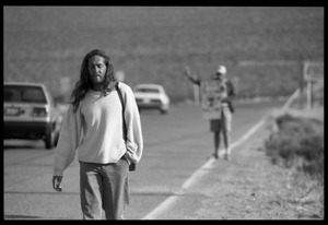 Activists on the road near the entrance to the Nevada Test Site: Nevada Test Site peace encampment