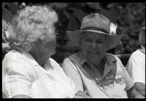 Elderly women seated, watching Chesterfield's Fourth of July parade