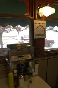 Booth and jukebox at the Miss Florence Diner