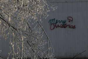 Ice covered tree in front of a barn spray painted 'Merry Christmas'
