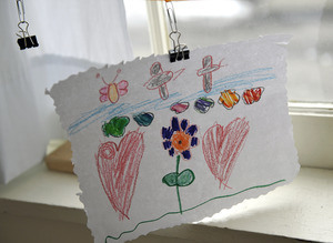 Aftermath of the Congregational Church fire in West Cummington, Mass.: child's drawing of hearts and flowers