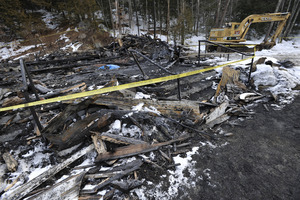 Aftermath of the Congregational Church fire in West Cummington, Mass.: charred ruins of the church