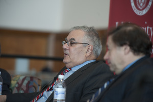 Congressman Barney Frank and author Stuart Weisberg at UMass Amherst, during their book event