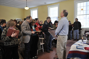 Aftermath of the Congregational Church fire in West Cummington, Mass.: pastor addressing the flock