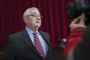 Congressman Barney Frank being interviewed on television at the Student Union Ballroom stage, UMass Amherst, during his book event