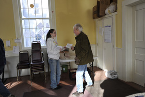 Aftermath of the Congregational Church fire in West Cummington, Mass.: parishioners gathering in the foyer of the Parish House
