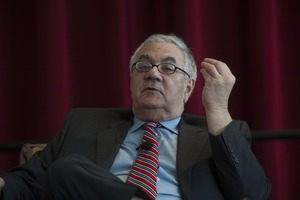 Close-up of Congressman Barney Frank seated on the Student Union Ballroom stage, UMass Amherst, during his book event