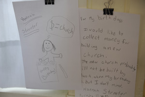 Aftermath of the Congregational Church fire in West Cummington, Mass.: child's note offering to collect money for the church for her birthday
