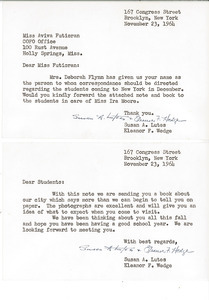 Letters from Susan A. Lutes and Eleanor F. Wedge to Aviva Futorian